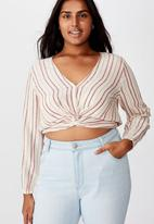 Cotton On - Curve twist front blouse  - red & cream