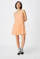 Factorie - Textured tiered dress - orange
