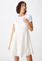 Factorie - Textured tiered dress - white