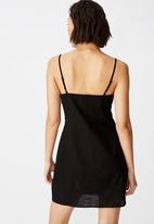 Factorie - Tie front button through dress - black