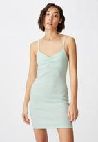 Factorie - Ruched front strappy dress - green