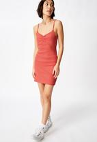 Factorie - Ruched front strappy dress - coral