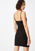 Factorie - Ruched front strappy dress - black