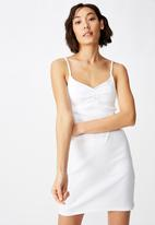 Factorie - Ruched front strappy dress - white