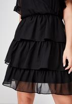 Cotton On - Curve woven sara short sleeve ruffle mini dress  - black