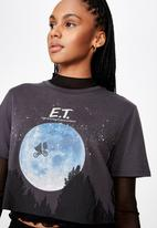 Factorie - Lcn raw edge graphic T-shirt - grey