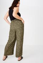 Cotton On - Curve wide drape pant  - green & black