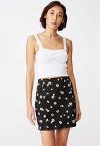 Factorie - Double split mini skirt - black & white