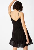 Factorie - Textured tiered dress  - black