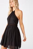 Cotton On - Woven helena halter mini dress  - black