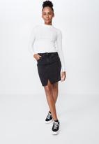 Factorie - High waisted denim skirt  - black