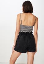 Factorie - Denim paperbag short - black