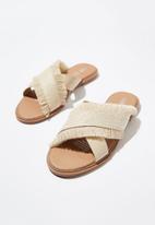 Cotton On - Lola cross over fringe sandal - neutral