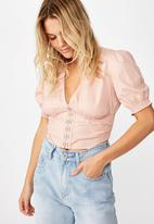 Cotton On - Hook and eye short sleeve blouse  - pink