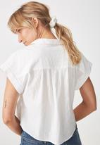 Cotton On - Emily chopped short sleeve shirt  - white