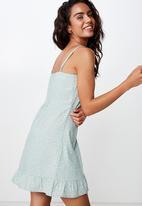 Cotton On - Woven kiki summer mini dress  - ella floral aqua grey
