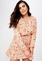 Cotton On - Curve woven lacy long sleeeve mini dress  - peach
