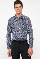 Pringle of Scotland - Barnaby paisley long sleeve styled shirt - blue