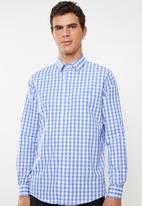 Pringle of Scotland - Fineas tailored short sleeve shirt - blue & white