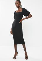 Superbalist - Square neck bodycon dress - black
