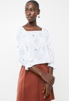 Superbalist - Square neck anglaise blouse - white