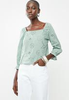 Superbalist - Square neck anglaise blouse - green
