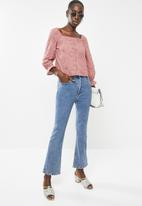 Superbalist - Square neck anglaise blouse - pink