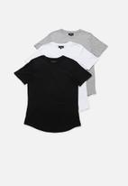 Superbalist - Longline curved hem short sleeve 3 pack tees - multi