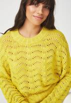 Cotton On - Cropped pointelle pullover  - yellow