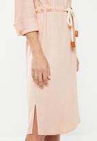 edit - Linen rope front dress - pink