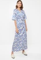 edit - Wrapover satin maxi dress - multi