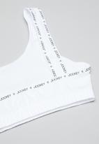 Jockey - 2 Pack logo lip crop top - black & white