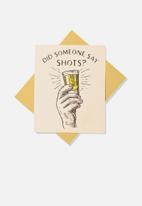 Typo - Congratulations card - did someone say shots?!
