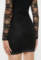 Missguided - Friday lace plunge bodycon mini dress - black
