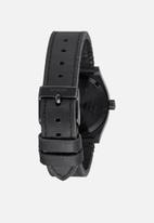 Nixon - Medium time teller leather - black