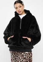 Missguided - Zip through hooded coat - black