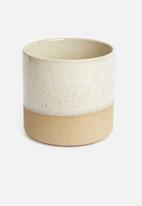 Sixth Floor - Reactive glaze planter - white