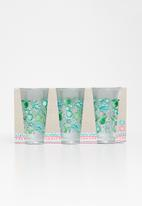 Excellent Housewares - Cactus glass set of 3 - green