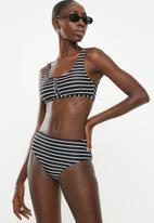 Cotton On - Henley scoop crop bikini top  - black & white