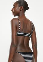 Cotton On - Scoop crop bralette bikini top  - black & white