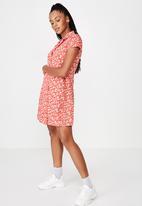 Factorie - Mini shirt dress - red & white