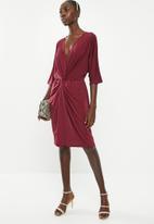 Superbalist - Kimono front knot dress - burgundy