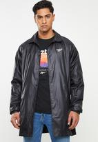 Reebok - Classic long raincoat windbreaker - black