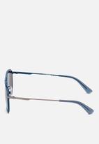 Diesel  - Matte gunmetal frame sunglasses with blue lenses - blue