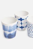Sixth Floor - Melamine cup set of 6 - indigo multi
