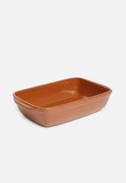Excellent Housewares - Stoneware dish - terracotta