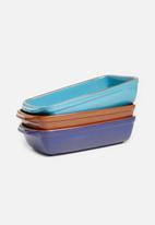 Excellent Housewares - Stoneware dish - turquoise