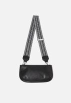 Cotton On - Webbing tape long bag strap - black & white