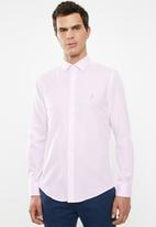 POLO - Mens custom fit signature long sleeve shirt - pink