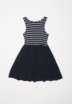 POP CANDY - Girls combo fabric dress with pockets - navy & white
